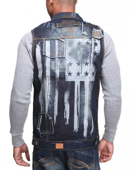 Basic Essentials - Men Vintage Wash Fly American Flag Denim Vest