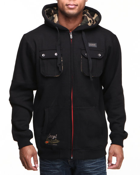 COOGI Men Black Coogi Camo Dual Pocket Full Zip Hoodie