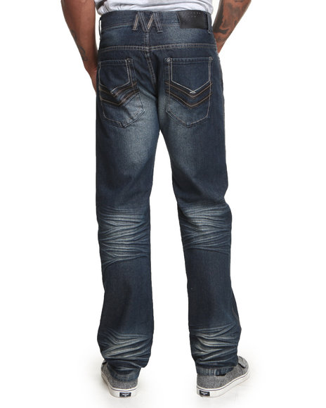 Mo7 - Men Dark Wash Pu Trim Back Pocket Denim Jeans