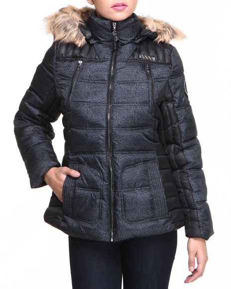 Coogi - Women Black Heavy Coat Color Blocked Quilted Puffer Jacket