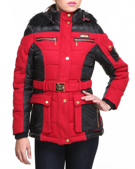 Coogi - Women Black,Red Heavy Weight Wool Puffer Coat