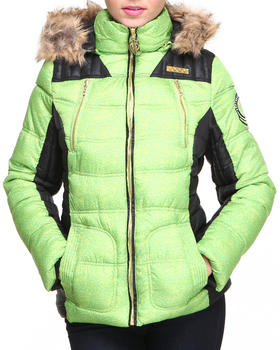 COOGI - Heavy coat color blocked quilted puffer jacket
