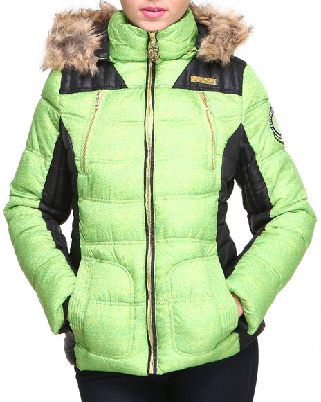 COOGI Lime Green Heavy Coat Color Blocked Quilted Puffer Jacket