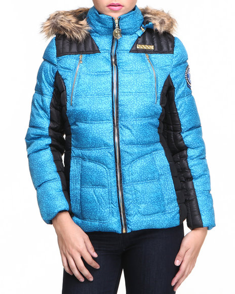 COOGI Black,Blue Heavy Coat Color Blocked Quilted Puffer Jacket