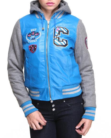 COOGI Blue Heavy Weight Varsity Jacket W/Vegan Leather Sleeves