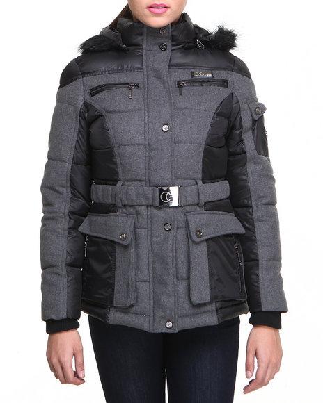 COOGI Black,Grey Heavy Weight Wool Puffer Coat