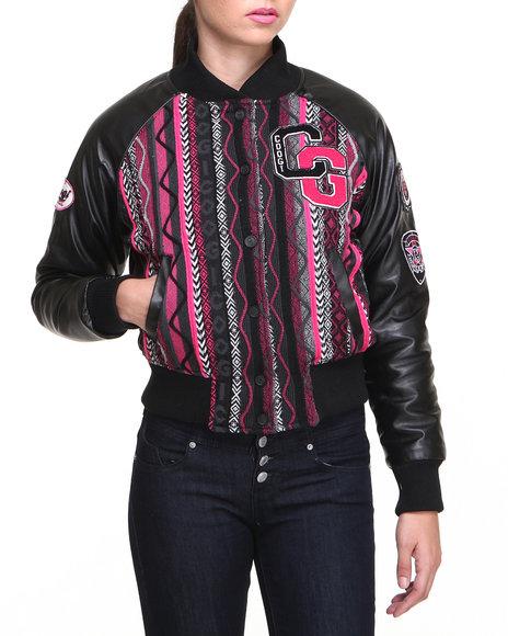 COOGI Black Lightweight Native Varsity Jacket W/Vegan Leather Sleeve