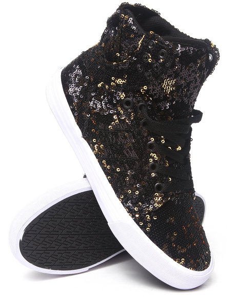 Supra Black,Gold Skytop Double-Sided Sequin Sneakers