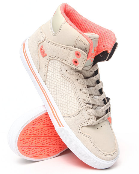 Supra Tan Vaider Snakeskin And Suede Sneakers