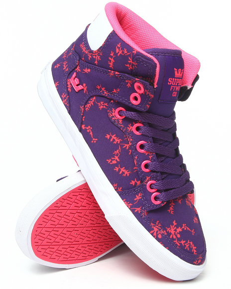Supra Purple Vaider Floral Pattern Sneakers
