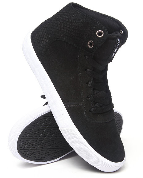 Supra Black Cuttler Waxed And Snakeskin Embossed Suede Sneakers