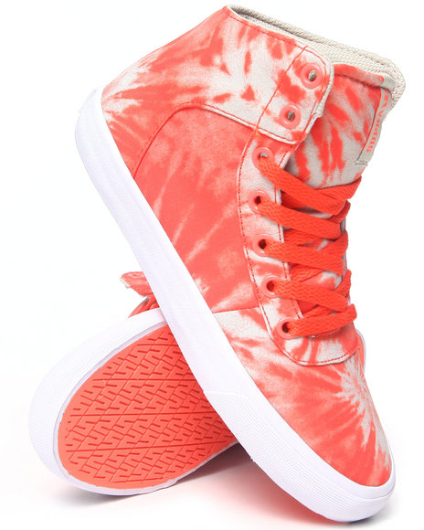 Supra - Women Orange Cuttler Tie-Dye Print Sneakers