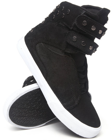 Supra - Women Black Society Studded Waxed Suede Sneakers