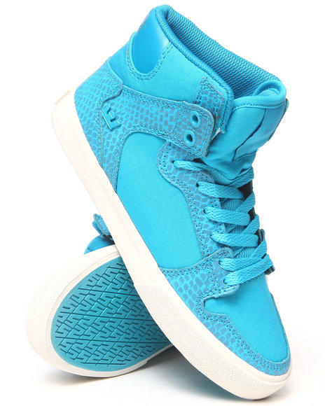 Supra Blue Vaider Leather And Snakeskin Print Sneakers