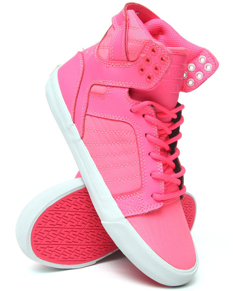 Supra Pink Skytop Nylon And Leather Sneakers
