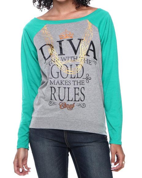 COOGI Grey Diva Printed Pullover Top