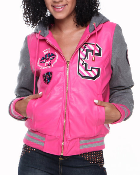 COOGI Pink Heavy Weight Varsity Jacket W/Vegan Leather Sleeves
