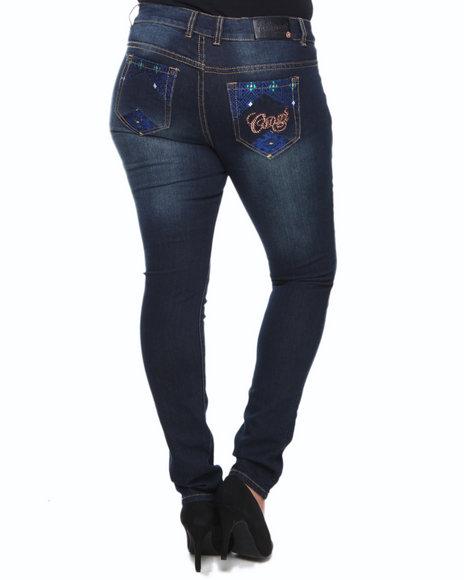 COOGI Blue Coogi Skinny Jeans W/Pocket Print (Plus Size)