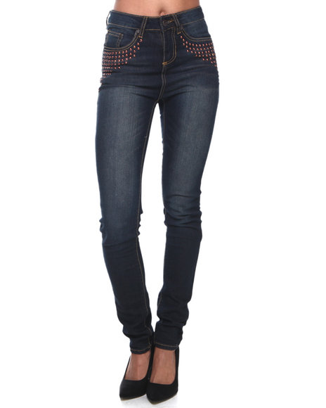 Almost Famous - Women Dark Wash High Waisted 5-Button Skinny Jeans
