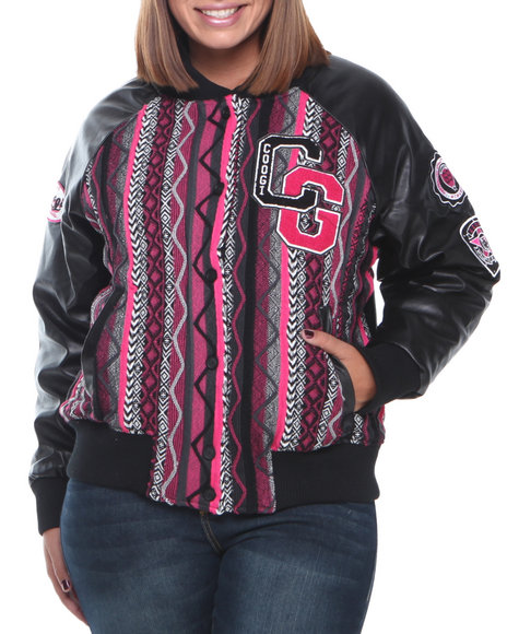 COOGI Black Lightweight Natice Varsity Jacket W/Vegan Leather Sleeve (Plus Size)