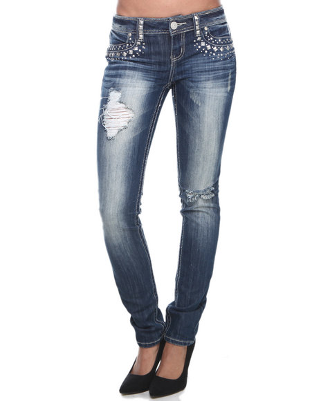 Almost Famous Vintage Wash Studded Pockets Distressed Skinny Jean
