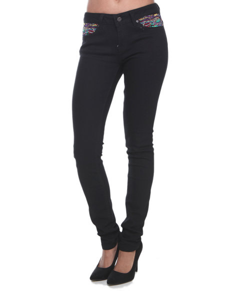 Coogi - Women Black Skinny Jeans W/Sweater Embroidery Baack Pocket
