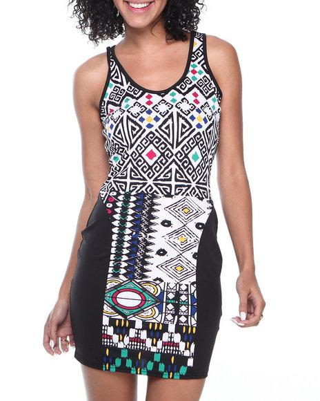 COOGI Black Coogi Body Con Printed Dress