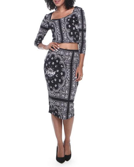 COOGI Black Bandana Printed 2-Piece W/Top And Skirt