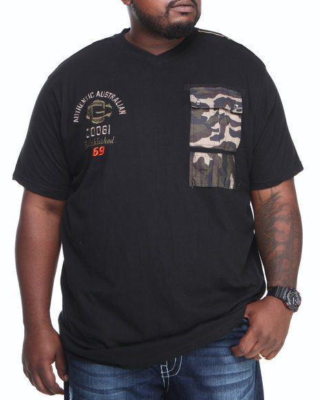 COOGI - Men Black Coogi Camo Patch Pocket V-Neck Tee (B & T)