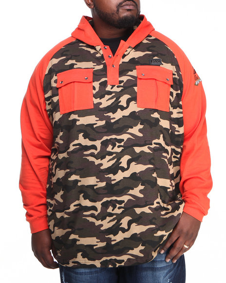 COOGI Men Orange Coogi Camo Pullover Hoodie (B & T)