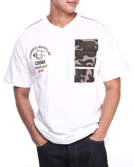 COOGI - Men White Coogi Camo Patch Pocket V-Neck Tee