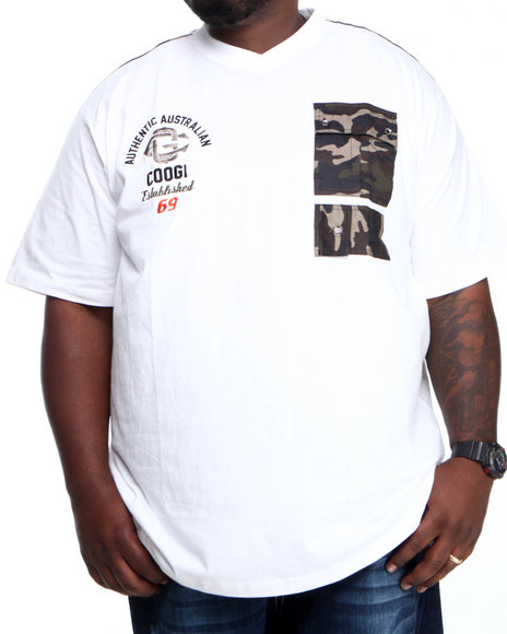 COOGI White Coogi Camo Patch Pocket V-Neck Tee (Big & Tall)