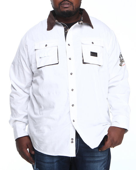 COOGI White Coogi Sgt. L/S Button Down Shirt (Big & Tall)