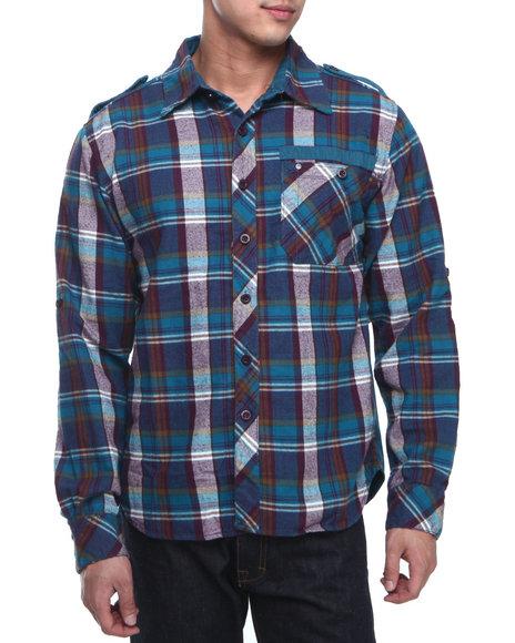 Syn Jeans Blue Plaid Zip Button-Down