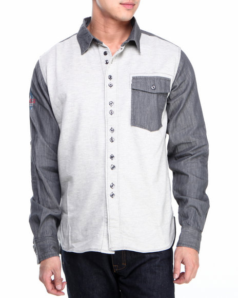 Syn Jeans Grey Knit Front Denim Button-Down