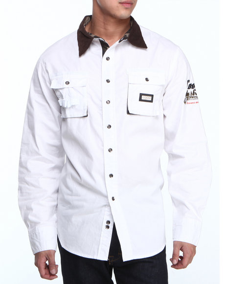 COOGI - Men White Coogi Sgt. L/S Button Down Shirt