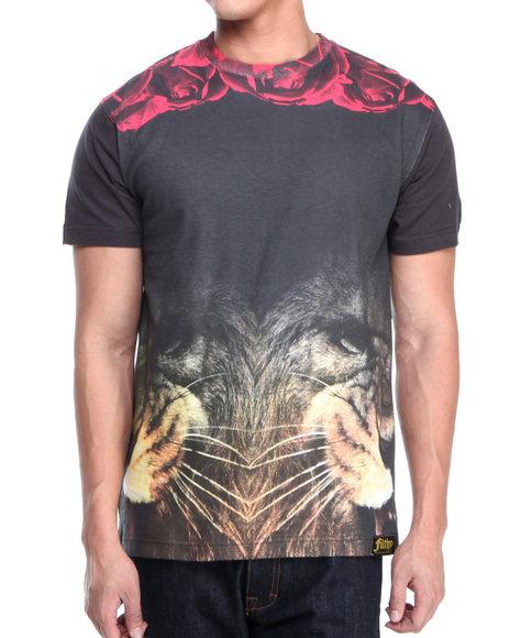 Filthy Dripped - Men Black Lion Roses T-Shirt - $21.99