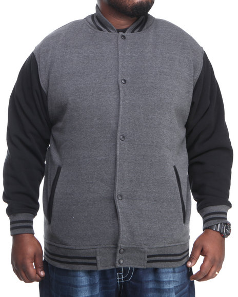 Basic Essentials - Men Charcoal,Black Varsity Jacket  (B&T)
