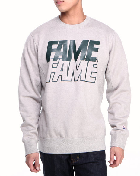 Hall of Fame Navy Stacked Block Crewneck Fleece Sweatshirt