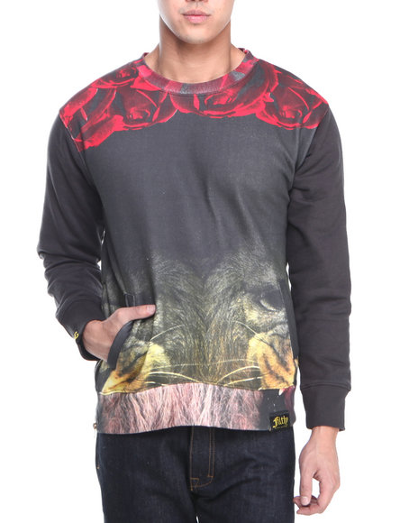 Filthy Dripped - Men Black Lion Roses Crew Sweatshirt