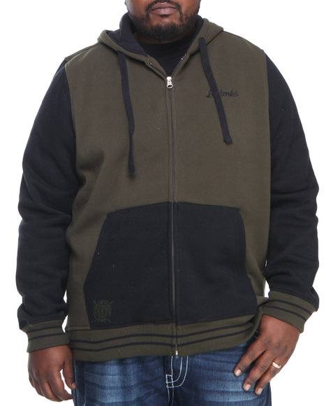 Akademiks - Men Olive Colosseum Fleece Zip Hoodie Jacket (B & T)