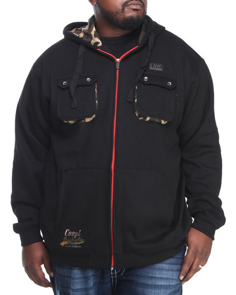 COOGI Men Black Coogi Camo Dual Pocket Full Zip Hoody (B & T)