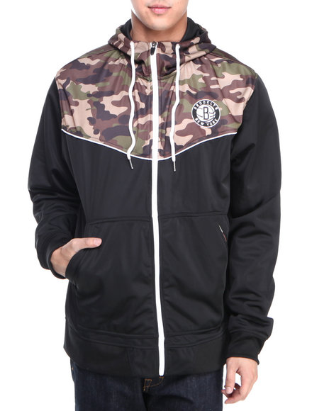 Nba, Mlb, Nfl Gear - Men Black Brooklyn Nets Team Commando Hoodie