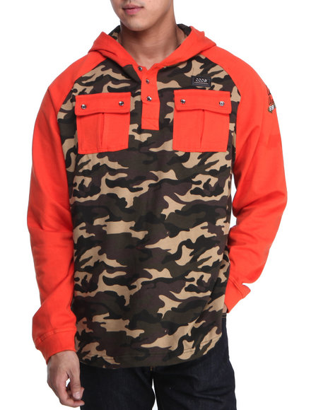COOGI Men Orange Coogi Camo Pullover Hoodie
