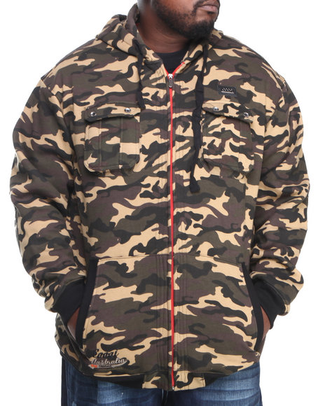 COOGI Men Camo Coogi Camo Dual Pocket Full Zip Hoody (B & T)