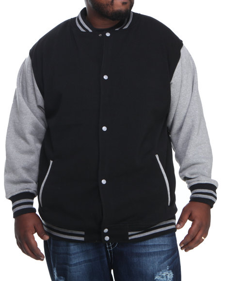 Basic Essentials - Men Black,Grey Varsity Jacket  (B&T)