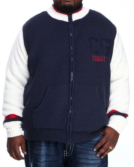 COOGI Men Navy Varsity Sweater Jacket (B & T)