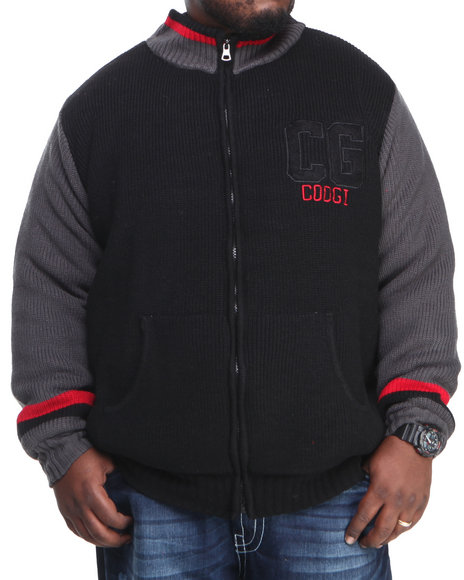 COOGI Men Black Varsity Sweater Jacket (B & T)