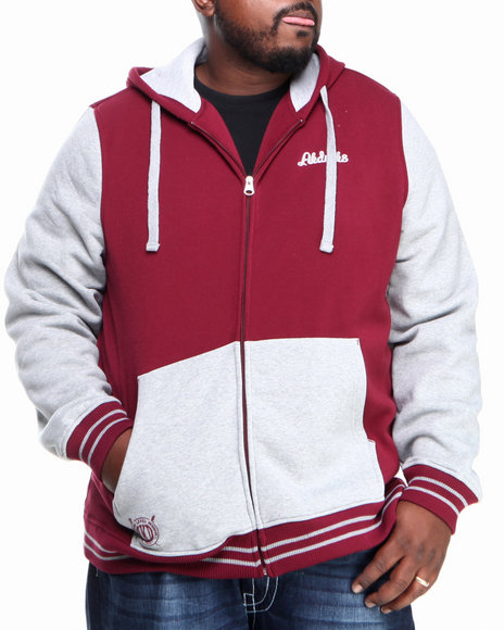 Akademiks - Men Maroon Colosseum Fleece Zip Hoody Jacket (B & T)