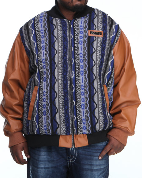 COOGI Men Navy Coogi Sweater Jacket W/ Pu Sleeves (B & T)